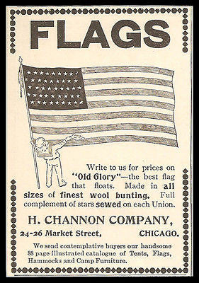 FLAGS 1898 Patriotic Ad Old Glory Flag Sailor Boy Channon Co. Chicago Advert