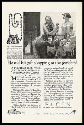 Egyptian Princess Jewelry Shopping 1926 Elgin Watch Print Ad
