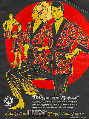 Posh Kimojamas Fashion 1967 Gaynor Modern Art Ad - Paperink Graphics