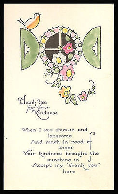 Bird Flowers Window Vine Antique Hand Colored Greeting Card 1931 Delicate Art