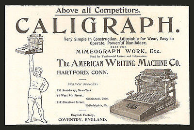 Caligraph Typewriter American Writing 1893 Small AD - Paperink Graphics