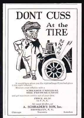 Don't CUSS At the TIRE Driver with Goggles 1921 Brooklyn NY AD