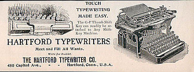 Hartford Typewriter G-P Thumb Shift Key Typing 1901 Small AD - Paperink Graphics