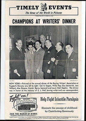 Boxers Willie Pep Gus Lesnevich Jess Willard Abe Greene Boxing 1946 Photo Illust