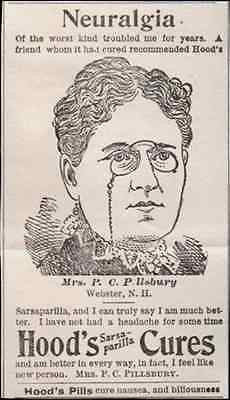 1895 Antique Quack Medicine AD Neuralgia Hood's Sarsaparilla Mrs. Pillsbury Webster NH - Paperink Graphics
