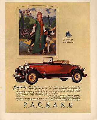 1927 Packard Red Convertible Antique Automobile AD Medieval Beauty Dog