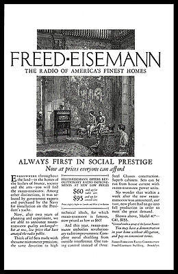 Freed Eisemann Radio AD 1926 Graphic Arts Interior Social Prestige Advertising