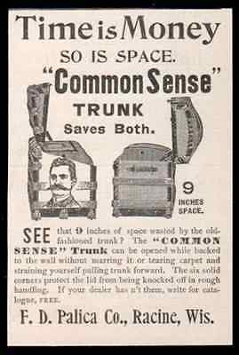 1892 Common Sense Travel Trunk AD F.D. Palica Racine WI - Paperink Graphics