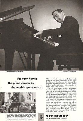 Alexander Brailowsky At His Steinway 1952 Musical Instrument Ad - Paperink Graphics