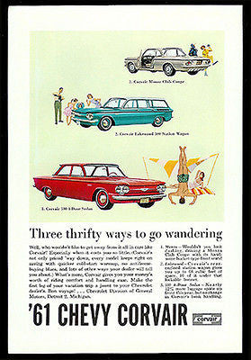 Chevrolet Corvair Coupe Station Wagon 4 dr Sedan 1961 Summer Fun Ad - Paperink Graphics
