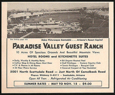 Paradise Valley Guest Ranch Ad Scottsdale Arizona 1964 Roadside Photo Ad Travel