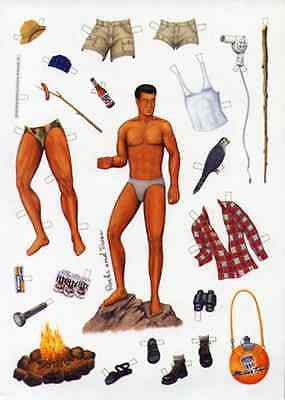 Miller Beer Paper Doll Shirtless Beefcake Man Camp Ad 1997 Gay Interest
