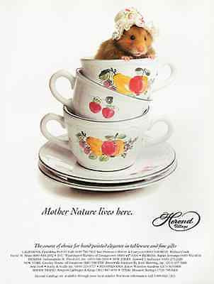 Dressed Mouse in Teacup 1993 AD Mother Nature Lives Here Hand Painted Tablewear