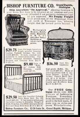Brass Bed Oak Buffet Leather Rocker 1908 Grd Rapids AD - Paperink Graphics