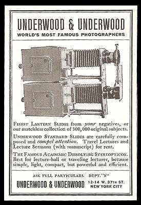 Antique Lantern Slides Stereopticon 1912 Illustration Ad Underwood Photographers - Paperink Graphics