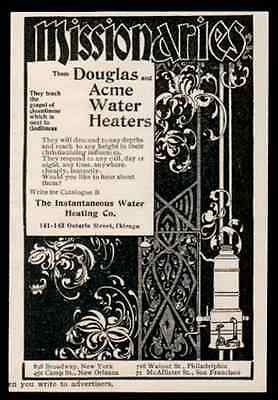 Water Heater Plumbing Ad Douglas Acme Missionaries Decorative Graphic Arts 1896 - Paperink Graphics