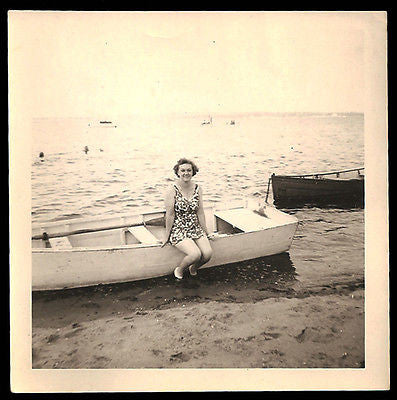 Antique Photo Snapshot Bathing Suit Woman Posing on Row Boat Waters Edge Sepia Photograph - Paperink Graphics
