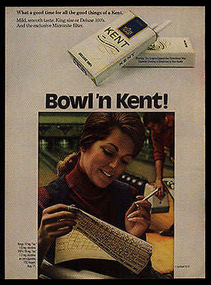 Bowling Ten Pin Keeping Score 1972 Kent Cigarette AD - Paperink Graphics