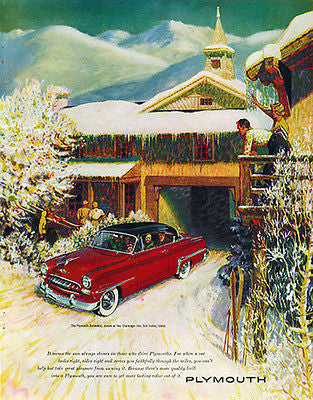 Plymouth Belvedere 1953 Skiing Snow Covered Challenger Inn Sun Valley Idaho AD - Paperink Graphics