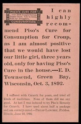 Piso Consumption Catarrh Croup Cure Remedy AD 1893