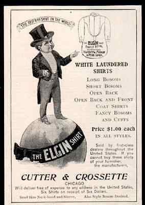 Antique Fashion Elgin Shirt Globe Logo Top Hat Tails 1899 AD - Paperink Graphics