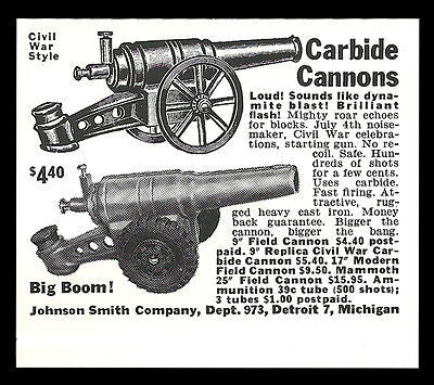 Carbide Cannons AD 1961 Johnson Smith Co. Michigan for promoting celebrations - Paperink Graphics