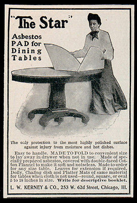 Asbestos Pad AD 1907 The Star Lady Round Dining Table Heat Moisture Protected