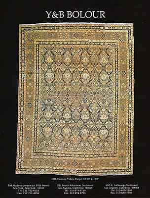 Tabriz Carpet 19th Century 1995 Y&B Bolour Antiques Oriental Carpets Gallery AD - Paperink Graphics