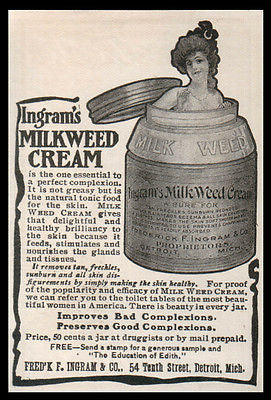 Beauty Jar Milk Weed Cream AD 1902 Ingram's Skin Health Medical Quack AD - Paperink Graphics
