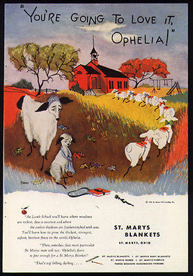 Ophelia's First School Day Little Red Schoolhouse 1951 Eness Print Ad - Paperink Graphics