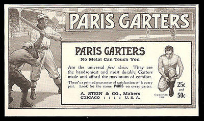 Baseball 1911 Ad Batter Catcher Uniforms Stadium Paris Garters