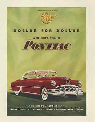 Pontiac Sedan Deco Grille Red White 1950 Print AD - Paperink Graphics