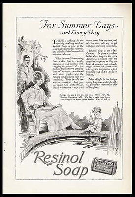 Resinol Soap 1923 Antique AD Garden Boy Playing Toy Pond Boat Advertisement