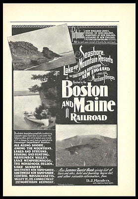 Boston Maine Railroad AD 1901 Train Travel New England Maritime Canada Photo AD - Paperink Graphics