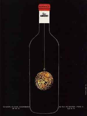 Bordeaux Signe Ginestet 1971 Wine AD Christmas Wine Bottle - Paperink Graphics