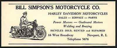 Motorcycle Harley Davidson Bill Simpson Motorcyle Store 1947 Small Ad Newport RI