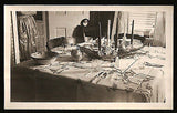 Elegant Table Setting Dinnerware Candles Apron Woman Out of Frame 1946 Photo