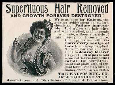 Hair Removed Growth Destroyed Modern Chemistry Kalpos Mfg Ohio 1902 Beauty AD