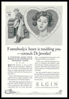 Elgin Watch AD Valentines Day Suggestion Dear Heart 1926 Advertising