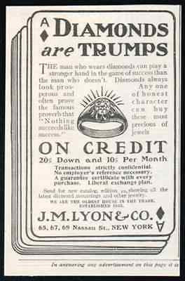 Diamonds Men Wear Diamond Rings 1905 Playing Card AD Trumps On Credit