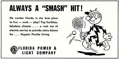 Reddi Killowatt 1956 Florida Power Light Co. Electric Utilities Advertising