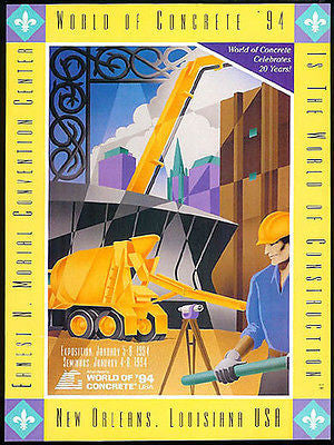Cement Mixer Truck World Concrete 1994 Exposition Ad Building Industry Graphic