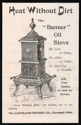 Banner Oil Stove Heating Antique 1892 AD Cleveland Foundry OH Plumbing HVAC - Paperink Graphics