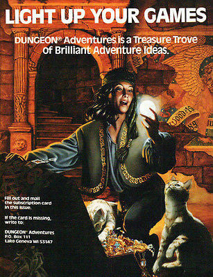 1990 Ad Glowing Orb Treasure Trunk Cat Dungeon Game Advertising Graphic Artwork - Paperink Graphics
