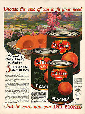 1924 Del Monte Peaches AD Beautiful Fruit Labels Kitchen Graphic Arts - Paperink Graphics