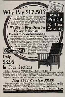 Chair White Oak Quartered DIY Sectional Furniture 1914 AD - Paperink Graphics