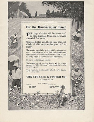 1918 Stearns Foster Mattress AD Picking Cotton Fields - Paperink Graphics