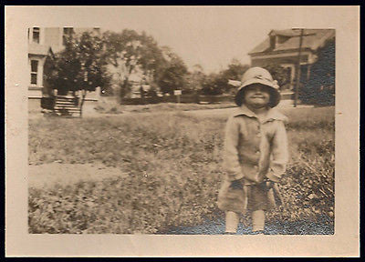 Angel Face Little Girl Broad Smile Big Hat Button Down Sweater Antique Photo - Paperink Graphics