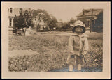 Angel Face Little Girl Broad Smile Big Hat Button Down Sweater Antique Photo