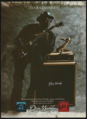 Bo Diddley Vintage 1988 Photo Illustration AD Dean Markley Guitar Strings Amp - Paperink Graphics